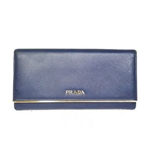 Prada Metal Bar Saffiano Continental Wallet